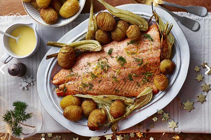 Roast Salmon with Hasselback Potatoes