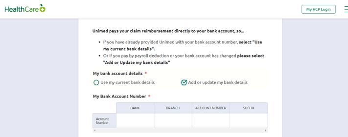 banking details - online claim form